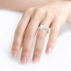 Halo Pear Cut Sterling Silver Eternity Ring Set