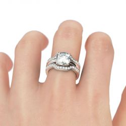 3PC Cushion Cut Sterling Silver Ring Set