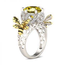 Two Tone Bee Honeycomb Round Cut Sterling Silver Ring