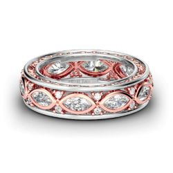 Scrollwork Two Tone Sterling Silver Women's Band
