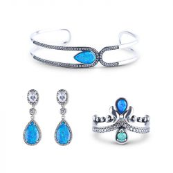 Waterdrop Opal Sterling Silver Jewelry Set