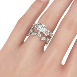 Floral Design Round Cut Sterling Silver Ring Set