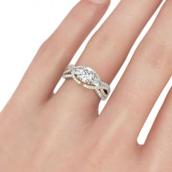 Two Tone Three Stone Round Cut Sterling Silver Ring