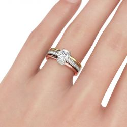 Tri-Tone Interchangeable Round Cut Sterling Silver Ring Set