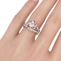 Two Tone Twist Floral Round Cut Sterling Silver Ring Set