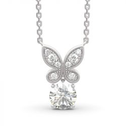 Butterfly Round Cut Sterling Silver Necklace