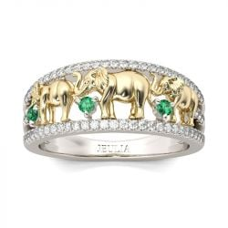 Two Tone Round Cut Sterling Silver Elephant Ring