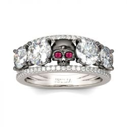 Two Tone Round Cut Sterling Silver Skull Ring