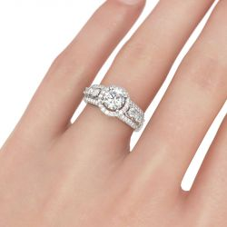 Halo Round Cut Sterling Silver Ring