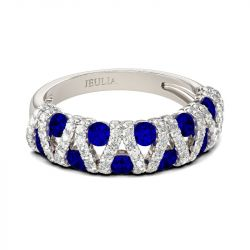 Hollow Round Cut Sterling Silver Women's Band