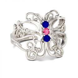 Butterfly Three Stone Round Cut Sterling Silver Cocktail Ring