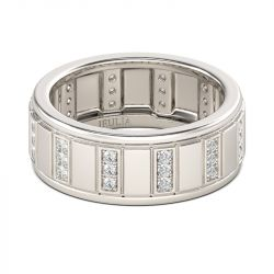 Classic Round Cut Sterling Silver Men's Band