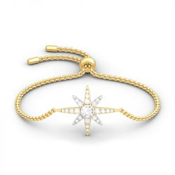 Two Tone Star Sterling Silver Bracelet