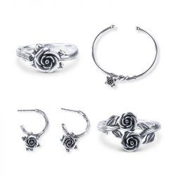 Romantic Rose Sterling Silver jewelry Set