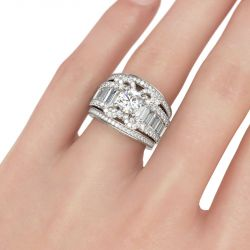 Butterfly Design Round Cut Sterling Silver Ring Set