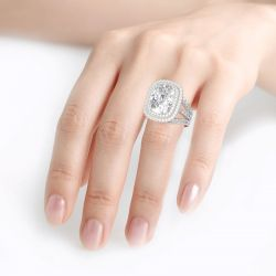 Double Halo Cushion Cut Sterling Silver Ring
