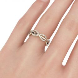 Two Tone Interwoven Sterling Silver Women's Band
