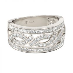 Intertwined Round Cut Sterling Silver Women's Band