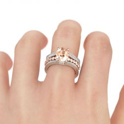 Two Tone Oval Cut Sterling Silver Ring Set