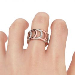 Two Tone Hollow Round Cut Sterling Silver Women's Band