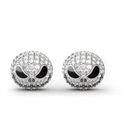 """Pumpkin King"" ""Jack Skull"" Sterling Silver Skull Earrings"