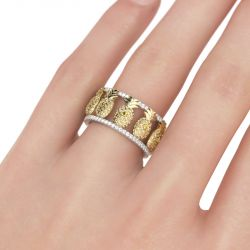 Two Tone Pineapple Sterling Silver Women's Band