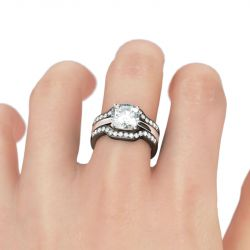 3PC Two Tone Cushion Cut Sterling Silver Ring Set