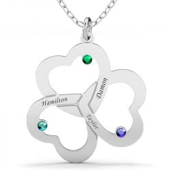 Triple Heart Engraved Family With Birthstones Necklace Sterling Silver