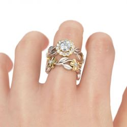 Flower Halo Round Cut Sterling Silver Ring Set