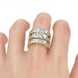 Gold Tone Princess Cut Sterling Silver Ring Set