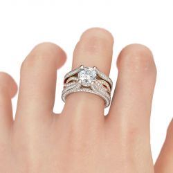 Three Tone Round Cut Sterling Silver Ring Set