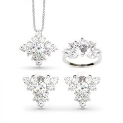 Sparkling Cluster Round Cut Sterling Silver Jewelry Set