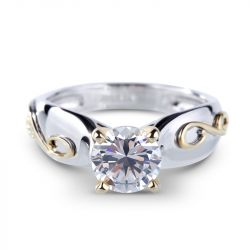 Two Tone Solitaire Round Cut Sterling Silver Ring