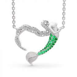 """""""Ocean's Light"""" Sterling Silver Mermaid Gift Necklace for Valentine's Day"""