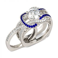 Knot Round Cut Sterling Silver Ring Set