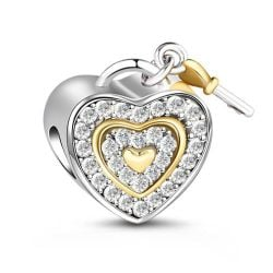 Two Tone Heart Charm Sterling Silver