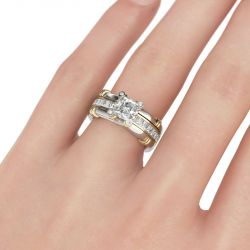 Two Tone Asscher Cut Sterling Silver Ring Set