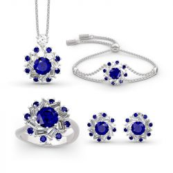 Halo Round Cut Sterling Silver Jewelry Set