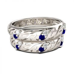 Hollow Out Sterling Silver Band Set