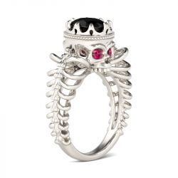 Hollow Oval Cut Sterling Silver Skull Ring