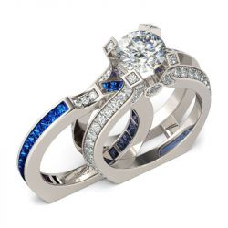 Interchangeable Round Cut Sterling Silver Ring Set