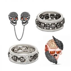 Black Skull Sterling Silver Jewelry Set