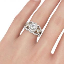 Milgrain Halo Round Cut Sterling Silver 3PC Ring Set