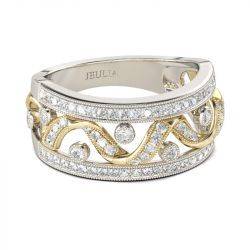 Two Tone Twist Round Cut Sterling Silver Women's Band