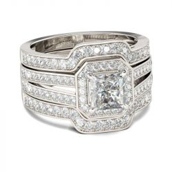 3PC Princess Cut Sterling Silver Ring Set