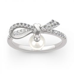 Bowknot Cultured Pearl Sterling Silver Ring