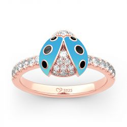 Lucky Blue Ladybug Sterling Silver Ring