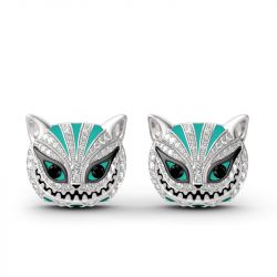 """Grinning Like a Cheshire Cat"" Sterling Silver Enamel Earrings"