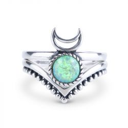 To the Moon and Back Stackable Opal Ring