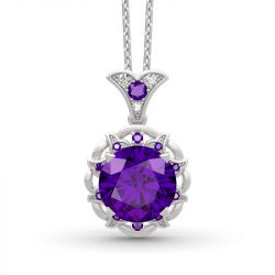 Amethyst Flower Round Cut Sterling Silver Necklace